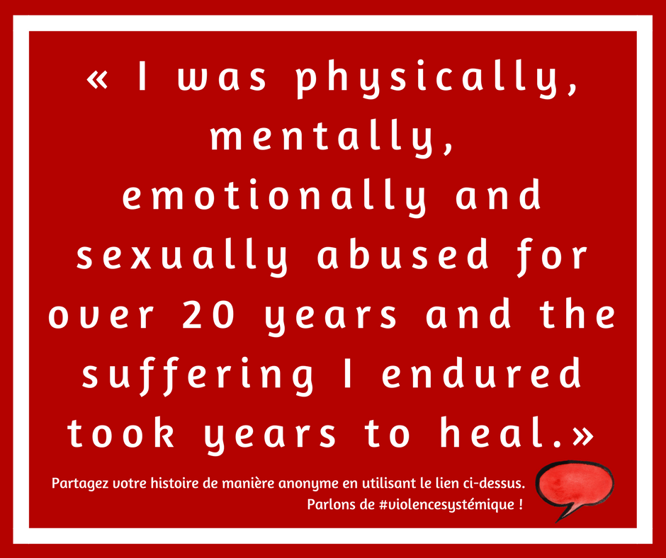 I was physically, mentally, emotionally and sexually abused for over 20 years and the suffering I endured took years to heal.