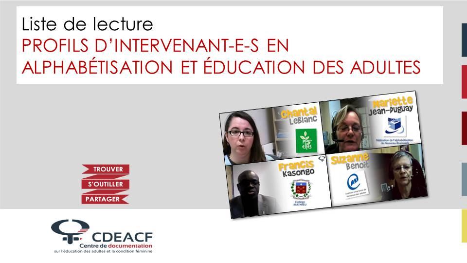 Liste de lecture Profils d'intervenant-e-s en alphabétisation et éducation des adultes