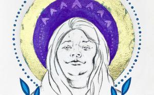 Illustration de Joyce Echaquan. Oeuvre de Eruoma Awashish, artiste Atikamekw Nehirowiskwew d'Opitciwan.