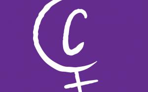 """Logo de Capire. Sur fond violet, le symbole féminin dont la lettre """"c"""" prend place au milieu."""