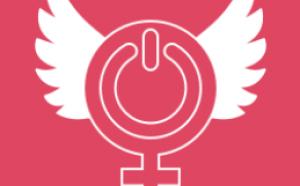 Illustration du symbole féminin avec des ailes blanches sur fond rose.