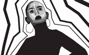 Illustration en noir et blanc d'une femme.
