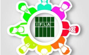 logo de l'International Federation of Library Associations and Institutions (IFLA), entourée d'illustrations de personnes