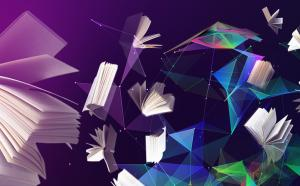 Illustration représentant des livres en réseaux.