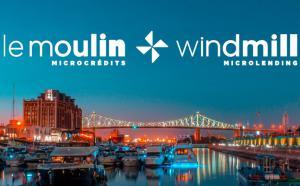 Le Moulin Microcrédits / Windmill Microlending. Vue sur le port de Montréal au crépuscule.