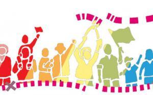 Illustration colorée d'une rangée de personnes qui manifestent.