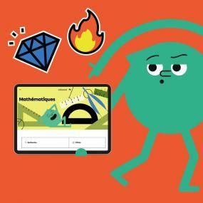 Mascotte du site Alloprof tenant une tablette.