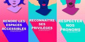 Collage de trois illustrations de personnes du même style ton sur ton où il est écrit « Rendre les espaces accessibles », « Reconnaître ses privilèges » et Respecter nos pronoms ».
