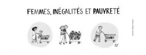 Illustration de trois familles poussant des chariots d'épicerie : une personne et son enfant, un couple et une personne seule. Seul le couple a un chariot débordant de nourriture. Les deux autres familles regardent le couple avec envie.