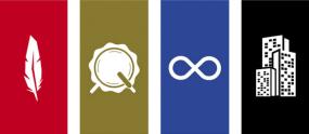 Illustrations cote à côté d'une plume, d'un tambour, du symbole de l'infini et de trois gratte-ciel.
