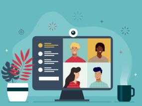 Illustration d'un écran d'ordinateur où des personnes sont en conférence vidéo.