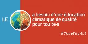 Le monde (illustration de la terre) a besoin d'une éducation climatique de qualité pour tou-t-es.