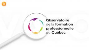 Illustration d'une loupe où il est écrit : Observatoire de la formation professionnelle du Québec.