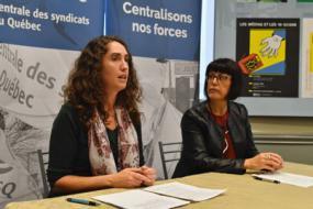 Catherine Jetté et Line Camerlain en conférence de presse.