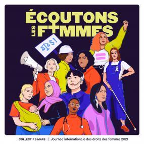 Affiche de la campagne Écoutons les femmes.