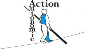 Logo d'Action autonomie : un funambule.