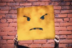 Photographie d'une affiche représentant un visage en colère. On ne voit que les mains de la personne qui tient l'affiche. L'arrière-plan est un mur de brique.
