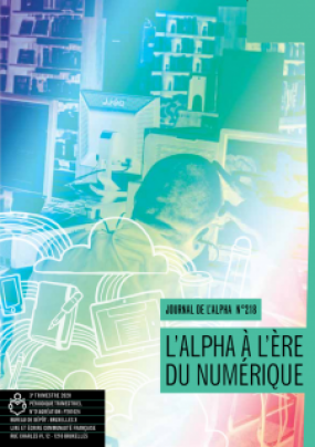 Page couverture du Journal de l'alpha no 218. Vue de dos d'une- apprenant-e assis-e à l'ordinateur.