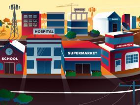 Illustration d'une ville avec ses commerces et services publics.