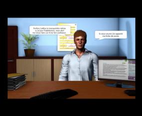 Image du contenu de la formation : une personne à l'écran est assise à un bureau, des phylactères sont affichés autour de la personne.