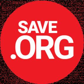 Un bouton rouge où il est écrit Save.org.