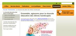 Site «Ensemble, agissons pour la réussite éducative des élèves handicapés»
