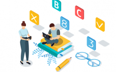 Illustration de deux personnes. Une personne assise sur des livres avec un ordinateur portable sur les genoux et une autre debout tenant une tablette. Des chiffres, un crayon et des lunettes sont placés autour d'eux.
