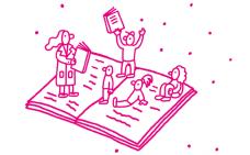 Illustration au trait rose de personnes qui lisent des livres dans différentes positions. Les personnes se tiennent sur les pages d'un livre ouvert