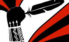 Wet'suwet'en solidarity! Aux couleurs rouge et noir, un poings tient une plume.