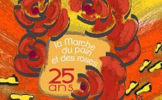 Logo du 25e anniversaire de la marche. Illustration d'un pain entouré de fleurs, superposé à une route rouge où il y a des traces de pas.