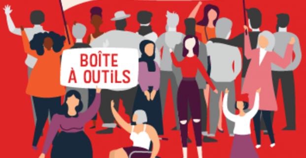 Illustration d une foule diversifiée de personnes sous une bannière où il est écrit : Se soutenir pour transformer nos organismes.