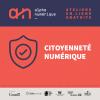 """Présentation du logo du projet, des bailleurs de fonds et les mentions de """"citoyenneté numérique"""" et """"Ateliers en ligne gratuits""""."""