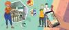 Affiche promotionnelle de l'application. On y voit des illustrations de personnes, une main qui tient un téléphone intelligent et des images de la vie quotidienne.