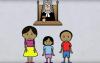 Vue d'une des capsules animées : trois enfants sont devant un juge.
