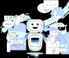 Illustration d'un robot entouré de personnes, de machines et de phylactères.