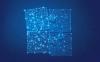 Illustration très bleutée d'un casse-tête à quatre morceaux qui s'imbriquent pratiquement. Des réseaux lumineux sont le motif du casse-tête.