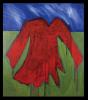 Oeuvre d'art d'une robe rouge.