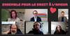 Photographie de six porte-parole lors d'un appel Zoom.