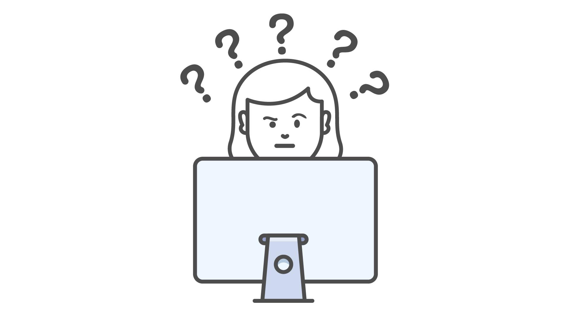 Personne derrière un écran d'ordinateur, cinq points d'interrogation au dessus de sa tête.