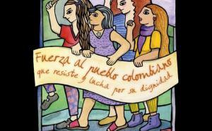 Oeuvre d'art représentant les femmes en marche de la délégation du Chili. Quatre femmes tiennent une banderole et ont le poing levé.