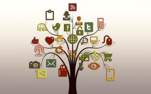 Illustration d'un arbre dont le feuillage est représenté par des icônes informatiques.