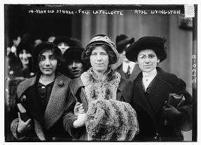 """photographie de Flora Dodge """"Fola"""" La Follette, Rose Livingston et une jeune gréviste, 1913"""