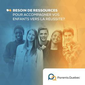 Photographie d'un groupe de jeunes avec la mention « Besoin de ressources pour accompagner vos enfants vers la réussite? ».