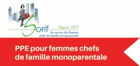 Logo de SORIF. Dans un ruban rouge en-dessous du logo, « PPE pour femmes chefs de famille monoparentale ».