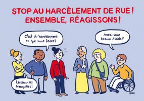 """Affiche de la campagne """"Stop au harcèlement de rue!""""."""