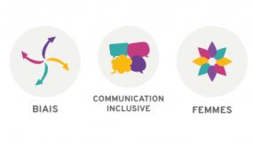 Trois logos représentant les biais, la communication inclusive et les femmes.