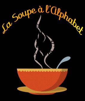 """Illustration sur fond noir d'une soupe chaude. Au-dessus, il est écrit """"La soupe à l'alphabet""""."""