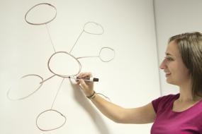 Photographie d'une personne qui dessine une carte heuristique sur un tableau blanc.