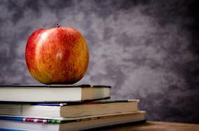 Sur une pile de livres, une pomme.