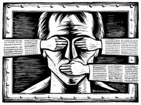 Illustration du visage d'une personne dont des mains cachent les yeux et la bouche.